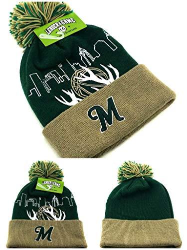 Milwaukee New Leader Knit Beanie Toque Skyline Antlers Bucks Colors Green Cuffed Pom Era Hat Cap