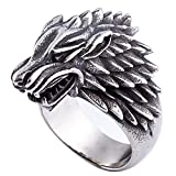 ZMY Mens Fashion Jewelry Rings, 316L Stainless Steel Direwolf Design Animal Ring for Men (11)