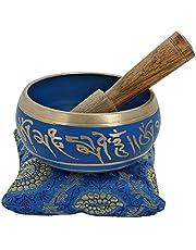 Ajuny Levendige Blauwe Boeddhistische Kleine Zingende Kom Hand Geschilderd Komt Stok En Kussen Ideaal Voor Meditaties En Geluid Genezing 4 Inch