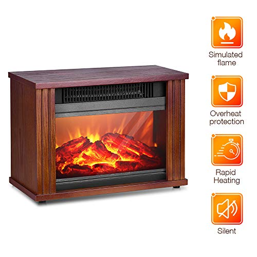 Electric Fireplace Heater - 1200W Infrared Heater with 3D Flames Effect, 250 Sq Ft Coverage, Rapid Heating, Low Noise, Overheat Protection, Energy-Saving, Space Electric Heater Portable Indoor