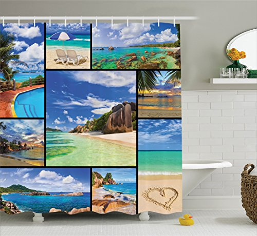Ambesonne home decor collection polyester fabric bathroom shower curtain set with hooks for Anna s linens bathroom accessories