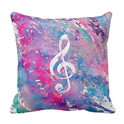 Treble Clef Paint - GoDIY Pink Blue Watercolor Paint Music Note Treble Clef Decorative Pillow Case Home Decor Square 18 x 18 Inch/45cm x 45cm