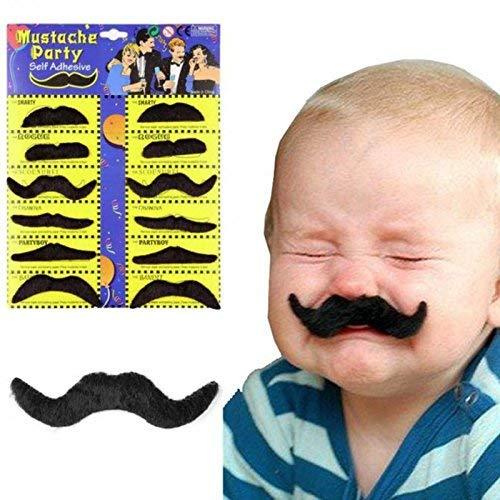 12pcs/set Costume Party Halloween Fake Mustache Moustache Funny Fake Beard Whisker -Pier 27 -