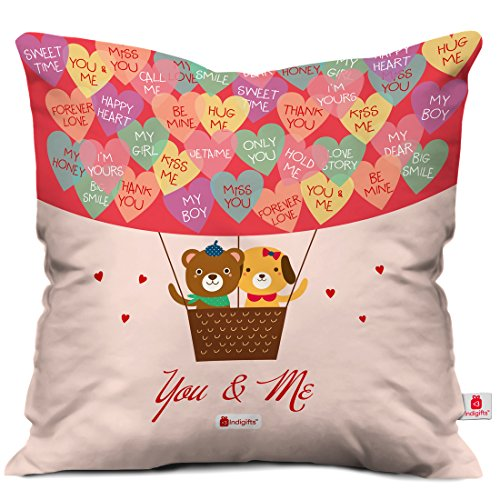 Indibni Valentines Day Gifts You & Me Quote Teddy in Hot Air Balloon with Love Messages Multi 16
