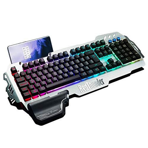 RedThunder K900 Gaming Keyboard - Mechanical Similar with Transparent Switch - RGB Backlight, Phone Holder, Hand Rest, Brushed Metal Cover, 25 Keys Anti-Ghosting - Computer Laptop PC Mac Gamer (Computer Metal Case)