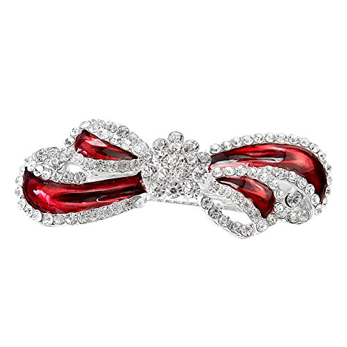 White Red Metal Bow Rhinestone Crystal Jewelry Hair Barrette Clip For Women (Crystal Bow Barrette)