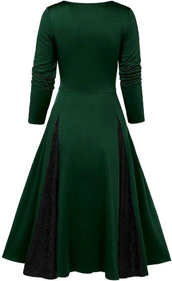 MIRRAY Halloween damska sukienka koktajlowa w stylu vintage, styl Rockabilly, styl retro, kołysząca, plisowana, z kokardką: Odzież