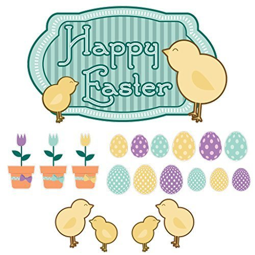 VictoryStore Yard Sign Outdoor Lawn Decorations: Easter Yard Decoration, Happy Easter Chicks with Eggs and Flowers, Set of 20 with 27 short stakes