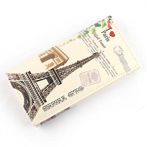Maxry(TM)New 2016 Retro Fashion British Flag Arc De Triomphe Pattern Women Long Purse Clutch Wallet Bag Card Holder Nice for you