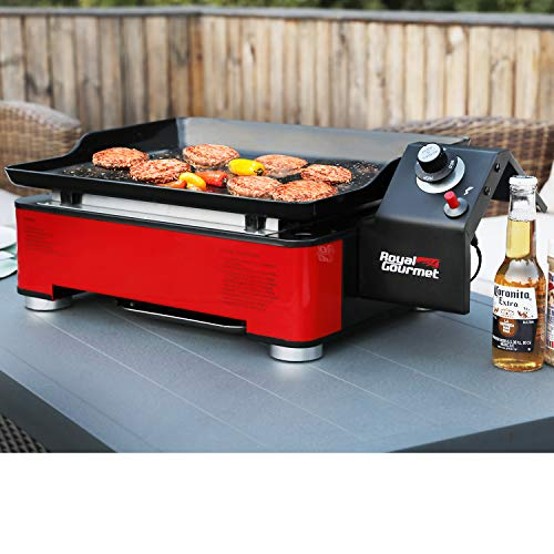 Royal Gourmet PD1202R Portable Table Top Propane Gas Grill Griddle, 12,000-BTU, for Outdoor Cooking While Camping or Tailgating, 18-Inch, Red