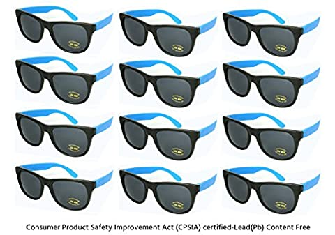 Edge I-Wear 12 Pack Neon Party Sunglasses with CPSIA Certified Lead (Pb) Content Free and UV 400 Lens 5402R/BU-12 (Made in Taiwan)