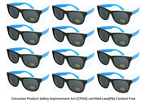 Edge I-Wear 12 Pack Neon Party Sunglasses with CPSIA Certified Lead (Pb) Content Free and UV 400 Lens 5402R/BU-12 (Made in (Neon Blue Sunglasses)