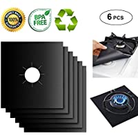 """Gas Range Protectors Liner Covers Reusable Gas Stove Burner Covers, 10.6"""" X 10.6"""", Double Thickness 0.2MM, Non-Stick, Fast Clean, FDA approved (6 packs)"""