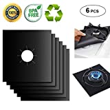 "Appliances : Gas Range Protectors Liner Covers Reusable Gas Stove Burner Covers, 10.6"" X 10.6"", Double Thickness 0.2MM, Non-Stick, Fast Clean, FDA approved (6 packs)"