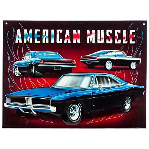 Classic American Muscle Car Embossed Metal Sign