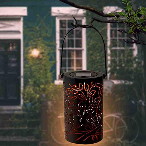 Solar Lights Outdoor Lantern Garden Hanging Solar Lights Retro Hanging Solar Lantern with Handle LED Table Lamp for Garden Yard Patio Lawn Party Decorative (Solar Owl Lantern Light) (Patio Owl Lights)
