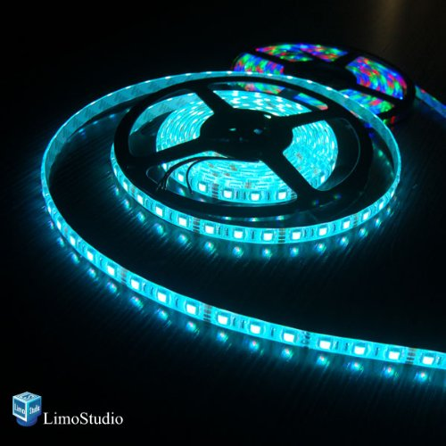 LimoStudio 2Pcs 16.4 ft SMD 3528 RGB Color Changing Epoxy covered Waterproof Flexible 300 LED Strip Light Kit with 44 - buttons Remote and Power Supply adapter, AGG1039 (Button Epoxy)