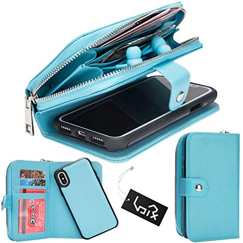 iPhone X Case, Urvoix Premium Leather Zipper Wallet Multi-Functional Handbag Detachable Removable Magnetic Case with Flip Card Holder Cover for iPhone 10 / X (2017)