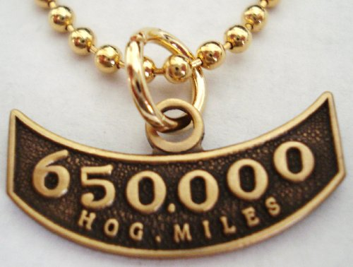 Harley Davidson HOG Motorcycle Mileage Rocker 650K 650000 Miles Replica Pendant Necklace w/ball ()