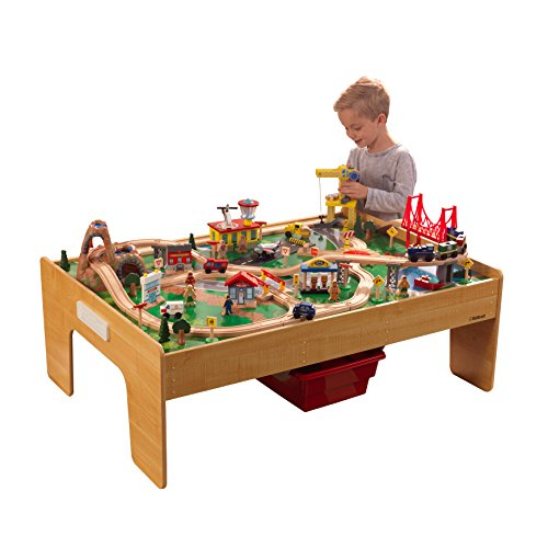 KidKraft Adventure Town Railway Train Set & Table with EZ Kraft Assembly, Natural