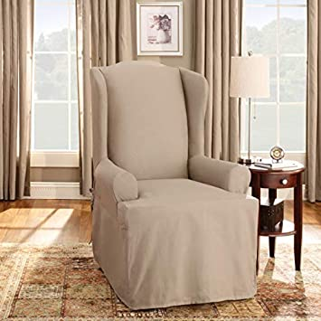 Magnificent Sure Fit Duck Solid Wing Chair Slipcover Linen Lamtechconsult Wood Chair Design Ideas Lamtechconsultcom