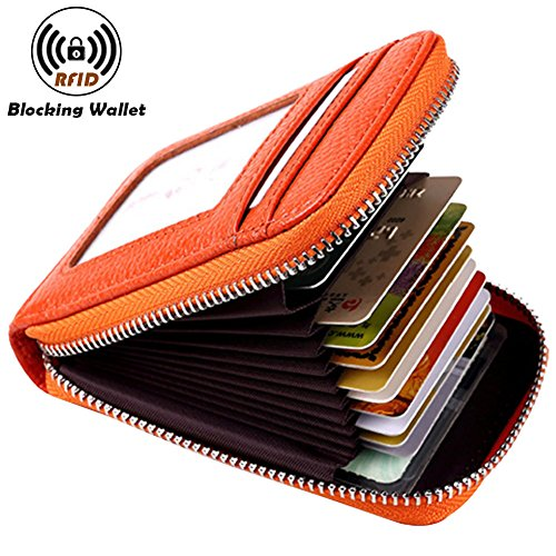 Noedy RFID Blocking Credit Card Case Organizer Genuine Leather Zip-Around Security Wallet (Zip Card)