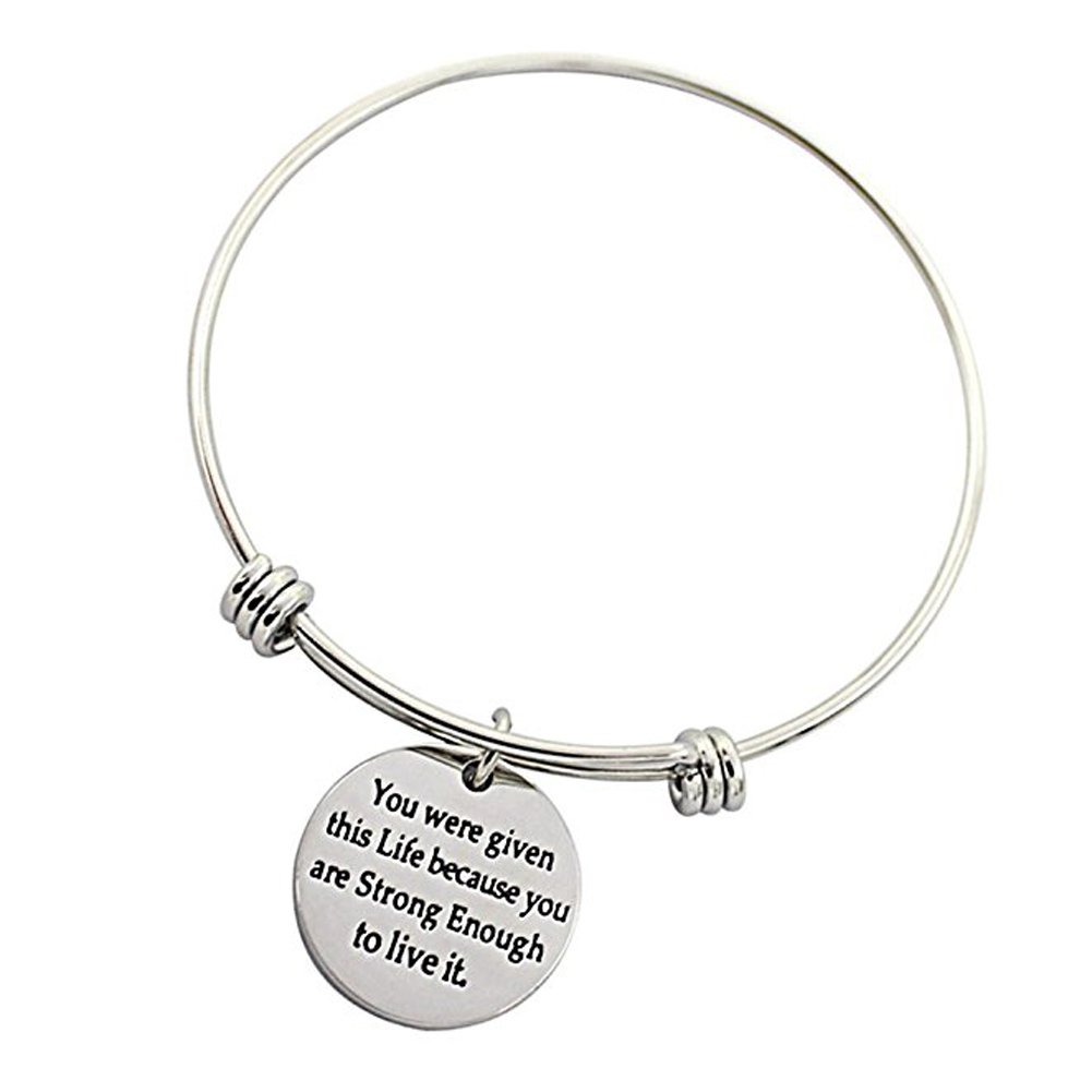 3 Sets Silver Plated Stainless Steel Metal Engraved Motivational Round Charm Pendant Adjustable Bracelets by SMARTWALLSTATION (Image #2)