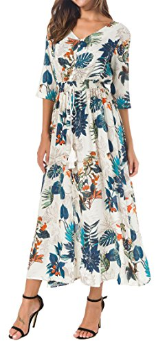 KorMei Womens Button Up Split Floral Print Flowy Party Long Bohemian Maxi Dress L Blue&Orange - Front Long Dress