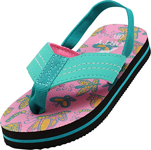 NORTY - Toddler Girls Butterfly Print Sling Back Flip Flop Sandal, Green, Pink 41056-5MUSToddler