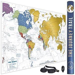 Mapamundi para rascar para viajeros y familias – Scratch off world map poster más grande (84x57cm) y con más destinos – Incluye antifaz para un sueño profundo y reparador