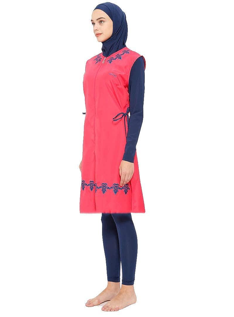 c3cfddd965 Amazon.com  Turkish Muslim Women Unlined Fully Covered Swimsuits Islamic  Hijab Modesty Swimsuit Costume Big Size  Clothing