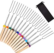Marshmallow Roasting Sticks 12 Pack Extendable 32 Inch Telescoping Marshmallow Skewers & Hot Dog Forks wit