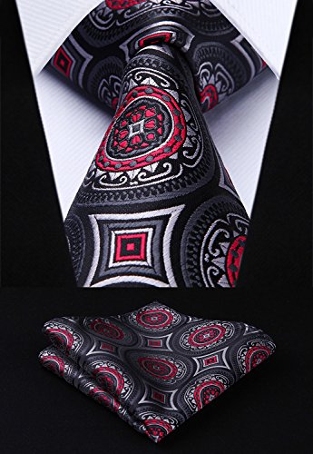 HISDERN Extra Long Floral Paisley Tie Handkerchief Men's Necktie & Pocket Square Set ,Black & Gray & Red 2,XL, 63 inches length