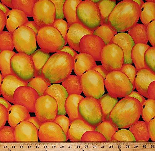 Cotton Mangoes Mango Tropical Fruits Food Orange Yellow Cotton Fabric Print by The Yard (FOOD-C9722-MANGO)