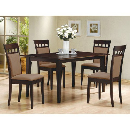 Delightful Amazon.com   5 PC Espresso Brown 4 Person Table And Chairs Dining Dinette    Beige Chair 150235   Table U0026 Chair Sets