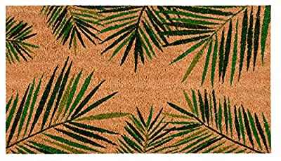 Juvale Coco Coir Door Mat - Welcome Mat Front Doormat Rugs with PVC Anti-Slip Backing for Home Indoor/Outdoor Floor Entrance - Tropical Green Palm Leaves Design, Brown, 30 x 17.2 x 0.5 Inches