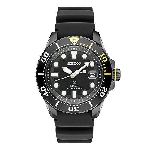 Seiko Prospex Divers Solar Mens Black Silicone Watch ()