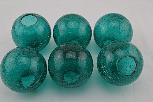 Decorative Glass Balls (6 Pcs Turquoise Decorative Reproduction Blown Glass Float Fishing Buoy Ball 4