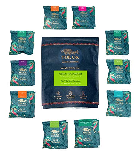 TGL Co. The Good Life Company Green Tea Sampler Assortment, 10 Green Tea Bags, 1 Pyramid Tea Bag of Each