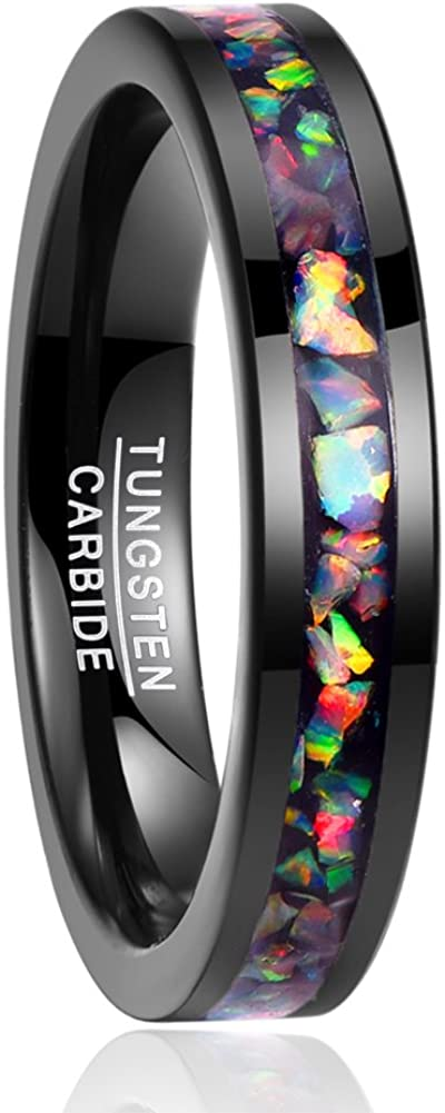 NUNCAD Anillo Hombre/Mujer 4 mm con Opale Multicolore de tungsteno, Boda Compromiso Estilo, Ocio, tamaño 9 a 27 (CH: ≈ 10 a 27,5)