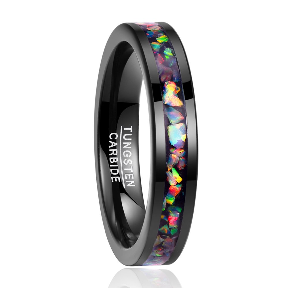 Vakki Genuine Fire Opal Tungsten Ring Band Flat Edge Engagement Ring Wedding Band Size 8