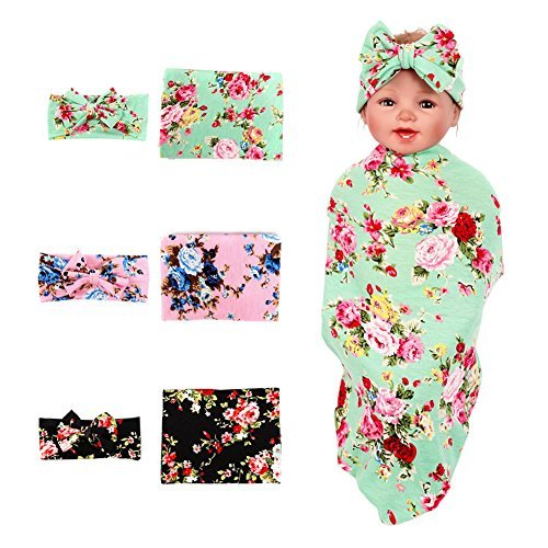 3 Pack BQUBO Newborn Floral Receiving Blankets Newborn Baby Swaddling with Headbands or Hats Toddler Warm (Best Baby Registry Websites)