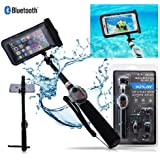 New Water Proof Bluetooth Selfie Stick Kit With Remote For Phones (Black)