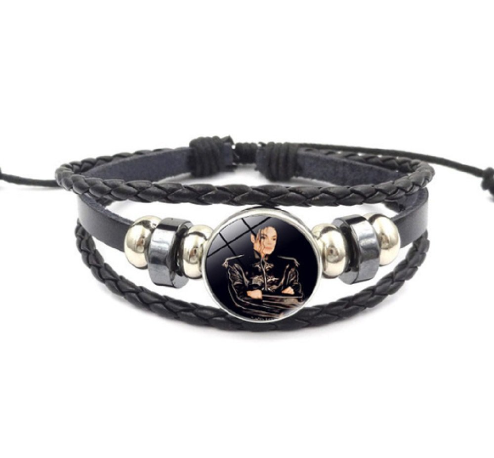 Michael JACKSON The King of Pop Music Black Military Jacket Black Leather Bracelet.Amazing Gift for a Devoted Fan by FTH