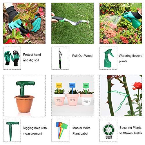 PADRAM Garden Tool Set 12 Piece Heavy Duty Garden Tool Kit for Planting Aluminum Outdoor Garden Hand Tool with Garden Tote Bag Weeder and Hand Trowel Gardening Tools Set Gift for Women Men