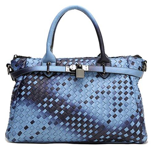 Bag Handbag Gradient Color Yan Shoulder Women's Tote Weave Bag PU Show Blue Woven Gradient 0wUqxFw