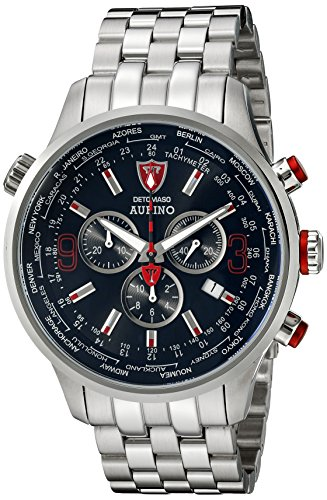 DETOMASO Men's DT1061-E AURINO XXL Chronograph Trend schwarz/silber Analog Display Swiss Quartz Silver Watch