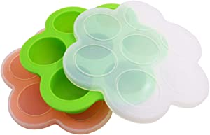 Silicone Storage Container and Baby Food Freezer Tray with Clip-On Lid Egg Bites Molds, DaKuan 2 packs Food Grade BPA Free Reusable Food Storage Container, for Pressure Cooker or as Ice Tray