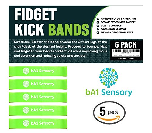 Fidget Kick Bouncy Chair Bands (5 Pack) - Education Supplies - SILENTLY Improves Focus For Classroom Students - ADHD ADD SPD OCD Autism and Sensory Tool - Bounce & Stretch Foot Band For Seats