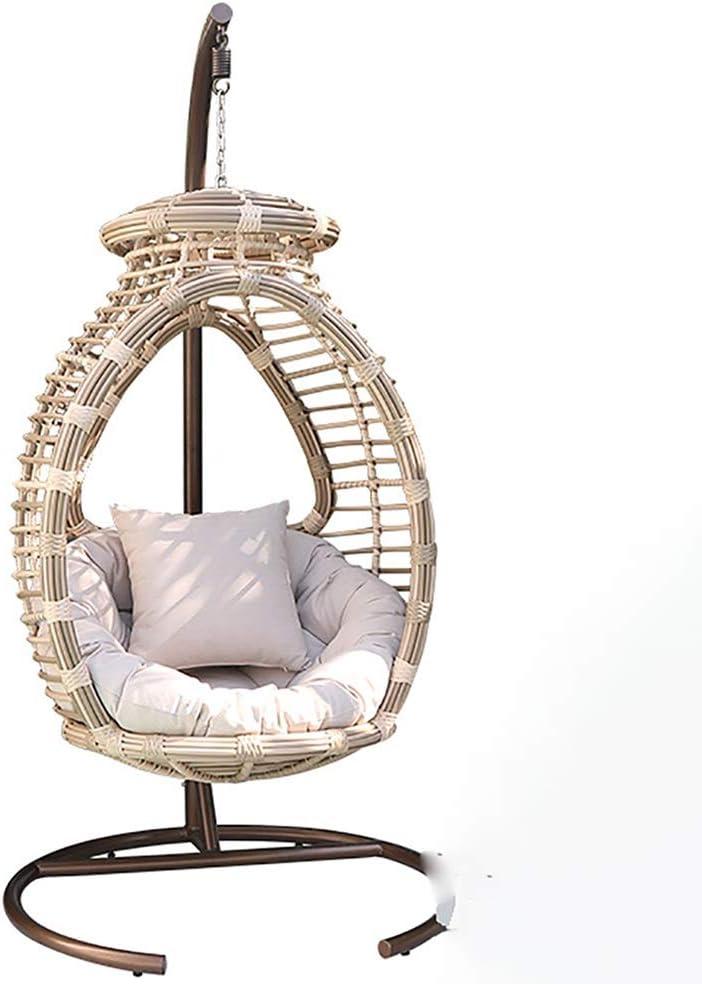 HLJJ-Z Calabaza Individual Silla colgante silla de mimbre, ancho y apoyabrazos redondos, forma redonda y de perfil aerodinámico Ajustar la comodidad de cuerpo humano, adecuado for la familia , El roma